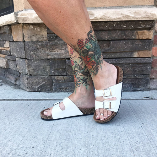 White double band sandals. - All Blinged Out/Calamity's