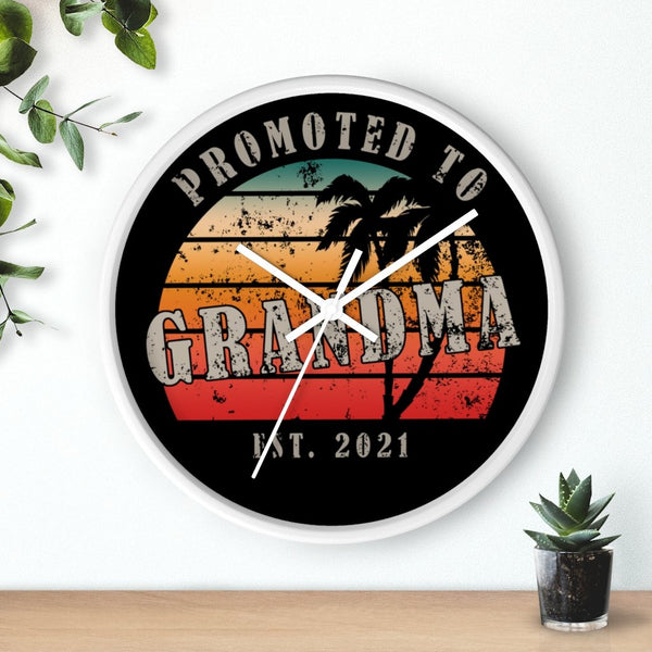 Home Decor Promoted To Grandma 2021 | Wall clock KRG Prints