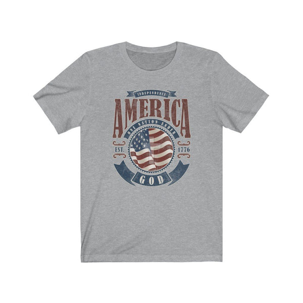 T-Shirt Athletic Heather / XS America One Nation Under God | Unisex Jersey Short Sleeve Tee KRG Prints
