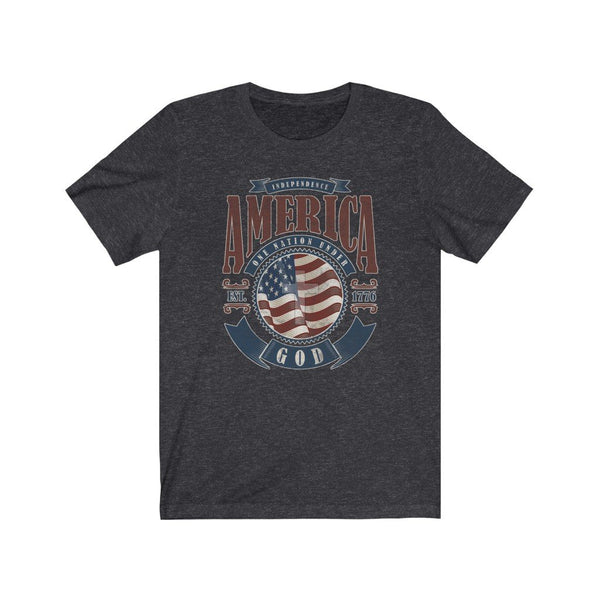 T-Shirt Dark Grey Heather / XS America One Nation Under God | Unisex Jersey Short Sleeve Tee KRG Prints
