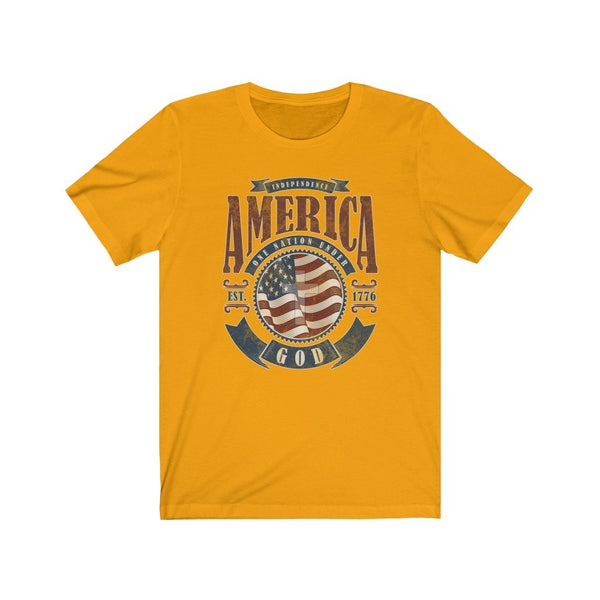 T-Shirt Gold / XS America One Nation Under God | Unisex Jersey Short Sleeve Tee KRG Prints