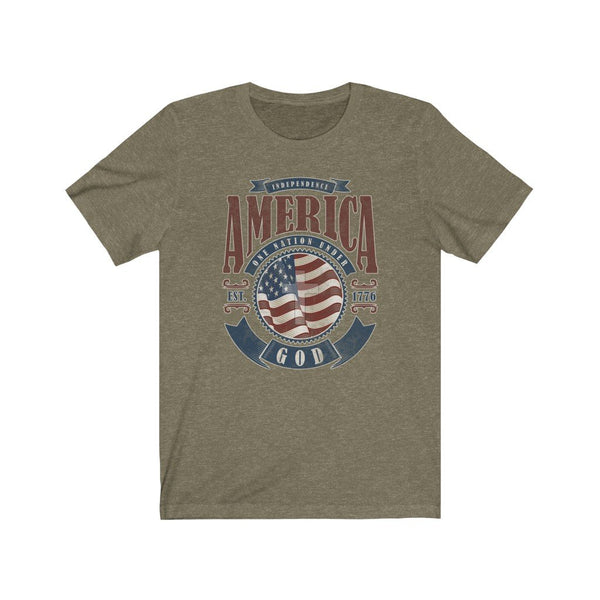 T-Shirt Heather Olive / XS America One Nation Under God | Unisex Jersey Short Sleeve Tee KRG Prints