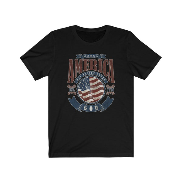 T-Shirt Solid Black Blend / XS America One Nation Under God | Unisex Jersey Short Sleeve Tee KRG Prints