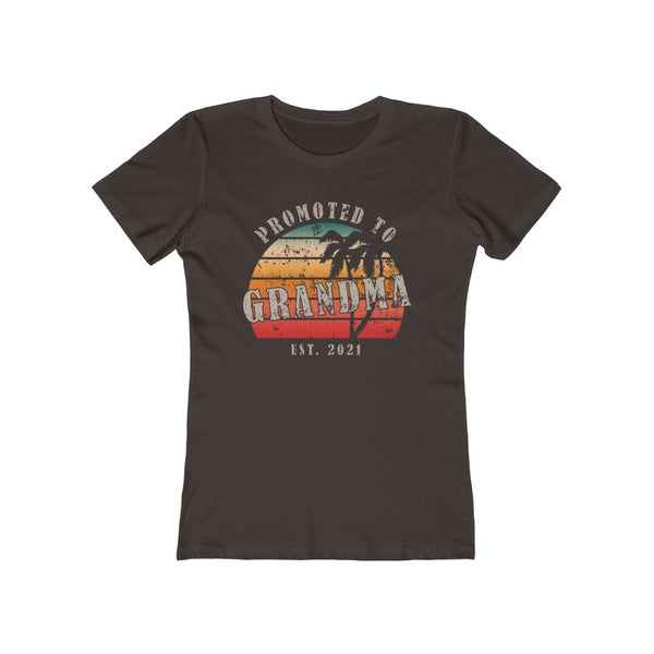 T-Shirt Solid Dark Chocolate / S Promoted to Grandma Est 2021  | Women's The Boyfriend Tee KRG Prints