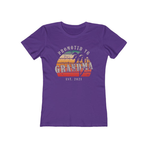 T-Shirt Solid Purple Rush / S Promoted to Grandma Est 2021  | Women's The Boyfriend Tee KRG Prints