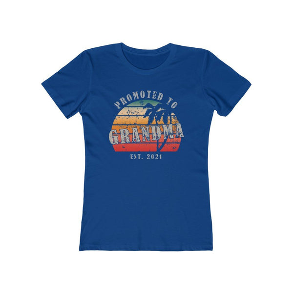 T-Shirt Solid Royal / S Promoted to Grandma Est 2021  | Women's The Boyfriend Tee KRG Prints