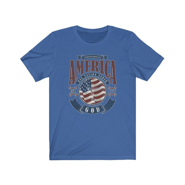 T-Shirt True Royal / XS America One Nation Under God | Unisex Jersey Short Sleeve Tee KRG Prints