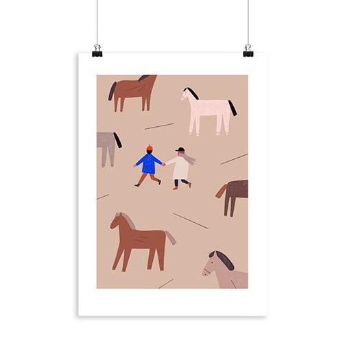 a4 print paardjes kinderkamer horses lollipop rebels decoratie