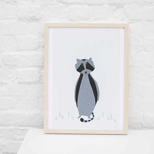 mr raccoon poster print kinderkamer trixie lollipop rebels