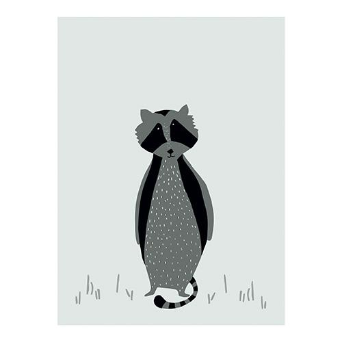 schattig mr raccoon poster print trixie lollipop rebels decoratie