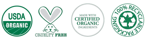 Certified USDA organic and cruelty free trust badge