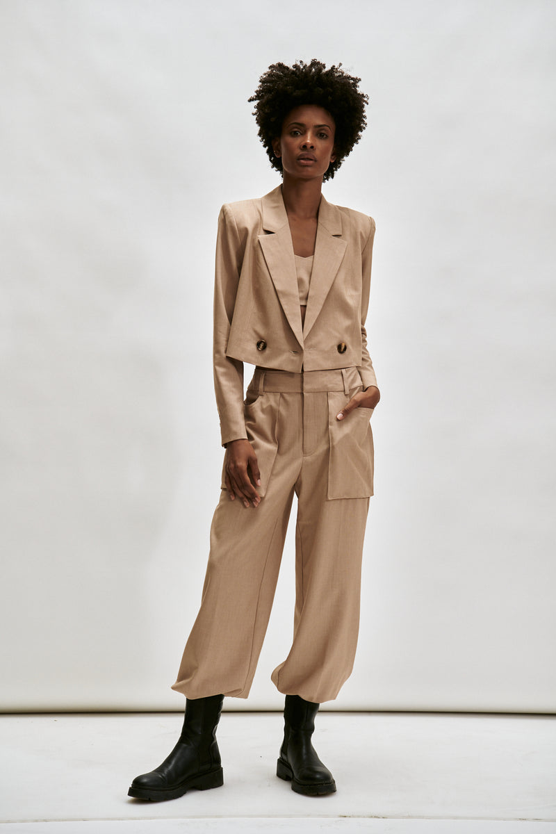 The Greenwich Cropped Blazer- Tan