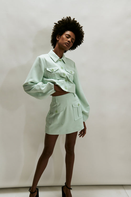 The Essex Cropped Shirt Jacket- Mint