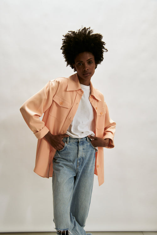 The Ludlow Shirt Jacket- Peach