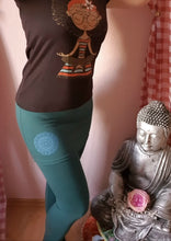 Laden Sie das Bild in den Galerie-Viewer, Leggings mit Minirock, Yoga Hose Blau/Grün Fair gehandelt!