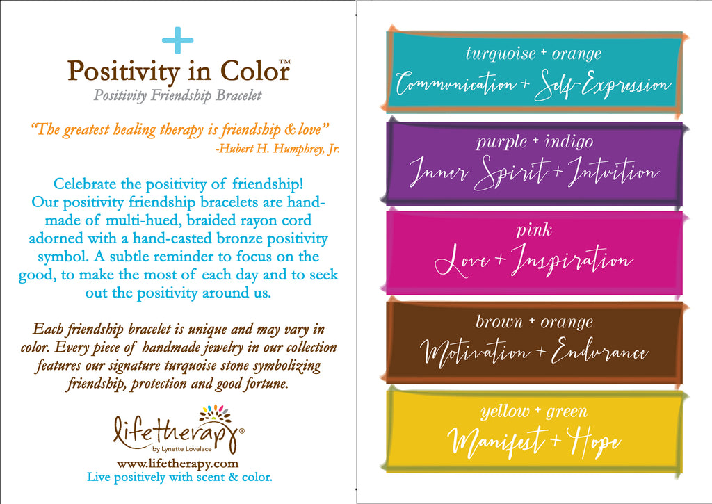 Positivity Friendship Bracelet Color Card | Lifetherapy