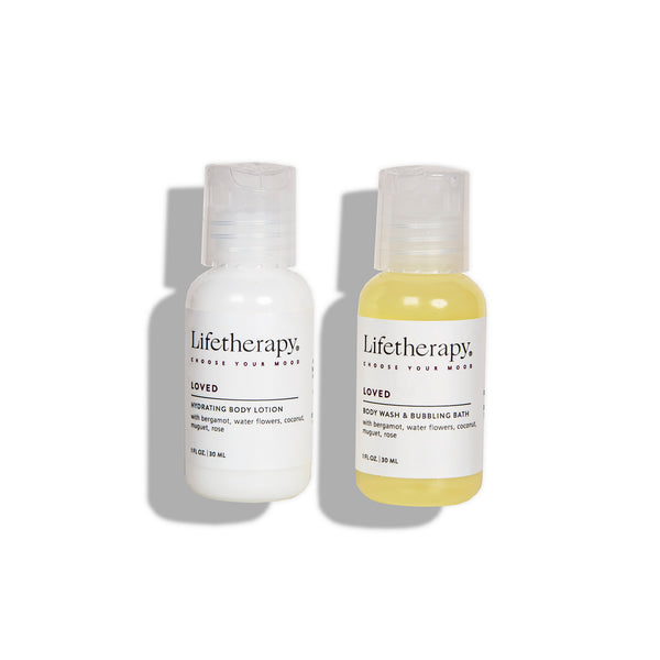 Mini lotion and wash set with notes of bergamot, coconut, water flowers and rose