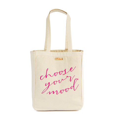 Choose Your Mood Motivational Canvas Tote Bag - Pink
