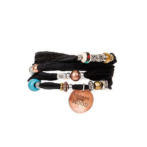 Black Silk Wrap Bracelet with Copper Charm | Lifetherapy Choose Your Mood
