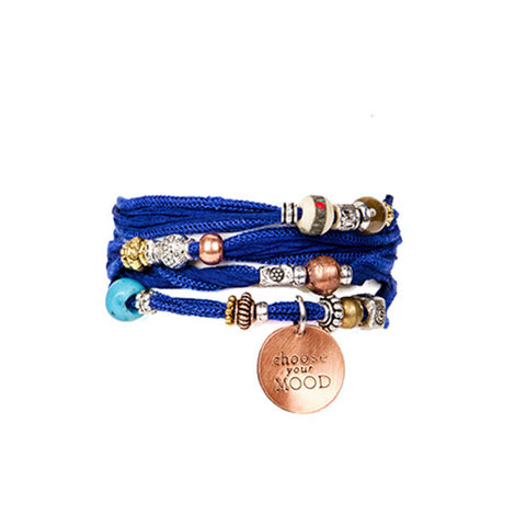 Cobalt Blue Silk Wrap Bracelet with Copper| Lifetherapy Choose Your Mood