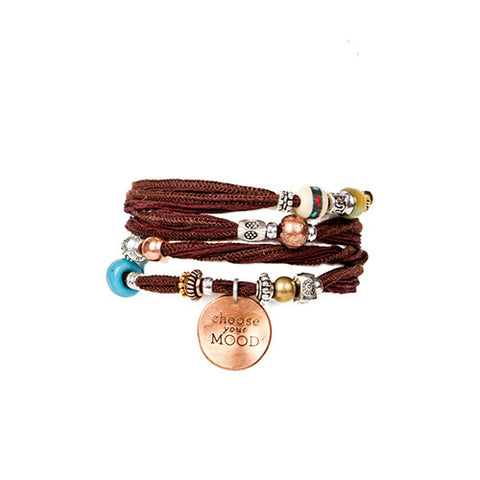 Brown Handmade Silk Wrap Bracelet with Copper Charm | Lifetherapy Choose Your Mood