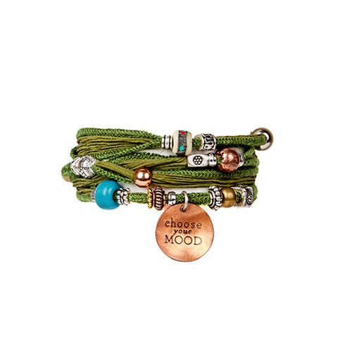 Handmade Copper Charm & Silk Wrap Green Bracelet | Lifetherapy Choose Your Mood
