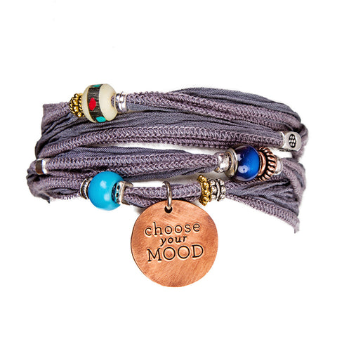 Grey Dependability Silk Wrap Bracelet & Hand Stamped Copper | Lifetherapy Choose Your Mood