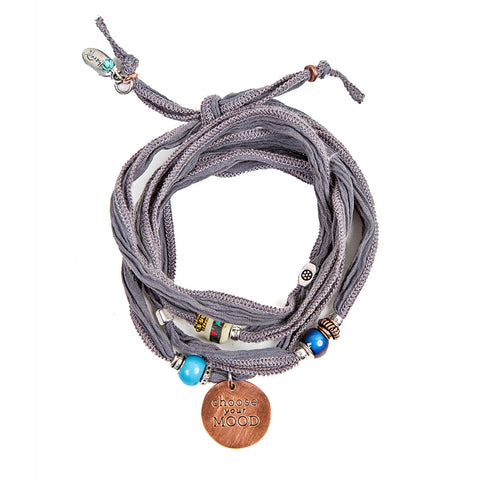 Grey Silk Wrap Bracelet With Copper Charm | Lifetherapy Choose Your Mood