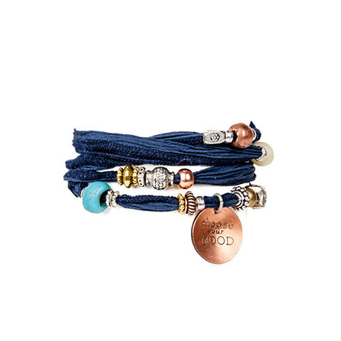 Indigo Silk Wrap Bracelet With Hand Stamped Copper Charm | Lifetherapy Choose Your Mood