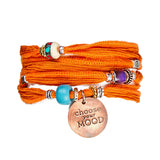 Healing Orange & Copper Silk Wrap Bracelet | Lifetherapy Choose Your Mood