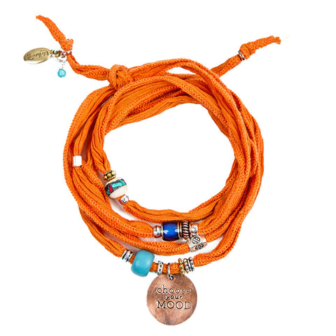 Choose your MOOD Silk Wrap Bracelets - Orange