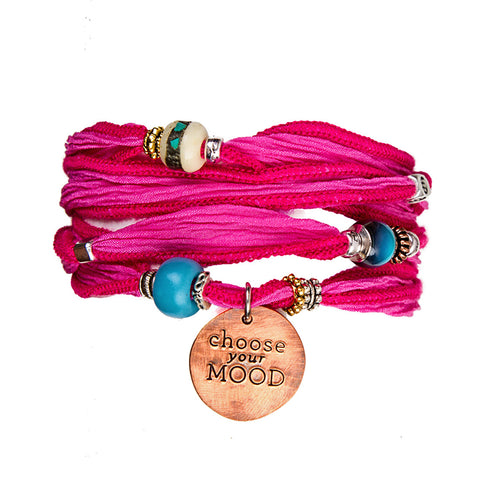 Choose your MOOD Silk Wrap Bracelets - Pink