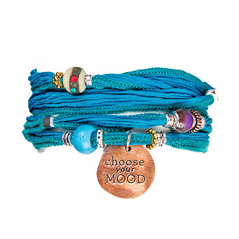 Turquoise Silk Wrap Bracelet with Hand Stamped Copper Charm | Lifetherapy Choose Your Mood