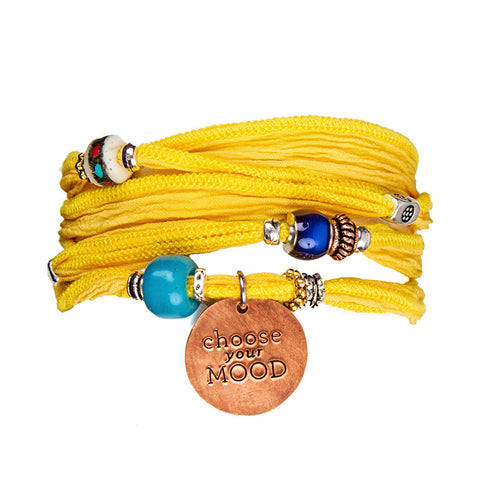Handmade Copper Charm with Yellow Silk Wrap Bracelet | Lifetherapy Choose Your Mood