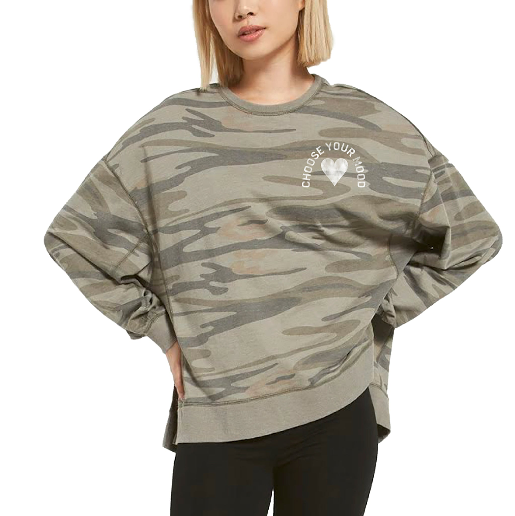 Choose Your Mood Camo Heart French Terry Sweatshirt