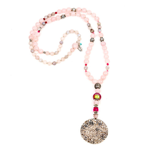 Unique rose quartz necklace with pendant | Lifetherapy choose your mood