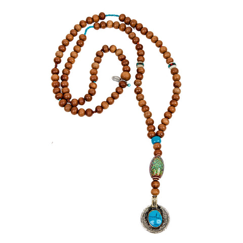 Sandalwood, turquoise, mood bead necklace | Lifetherapy choose your mood