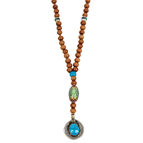 Unique sandalwood necklace with turquoise pendant | Lifetherapy choose your mood