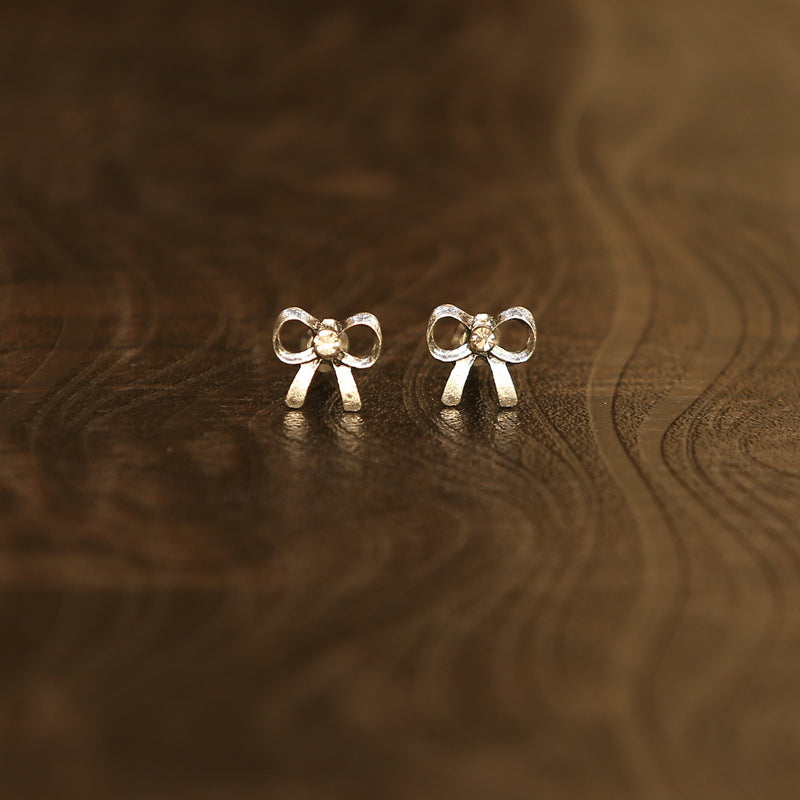 Igboh Oxidised Silver Tiny Bow Earrings