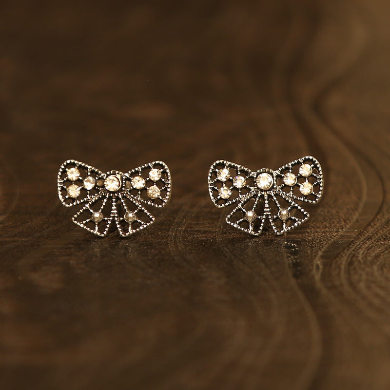 Igboh Oxidised Silver Stone Embellished Bow Earrings