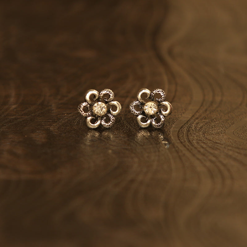 Igboh Oxidised Silver Single Stone Flower Earrings