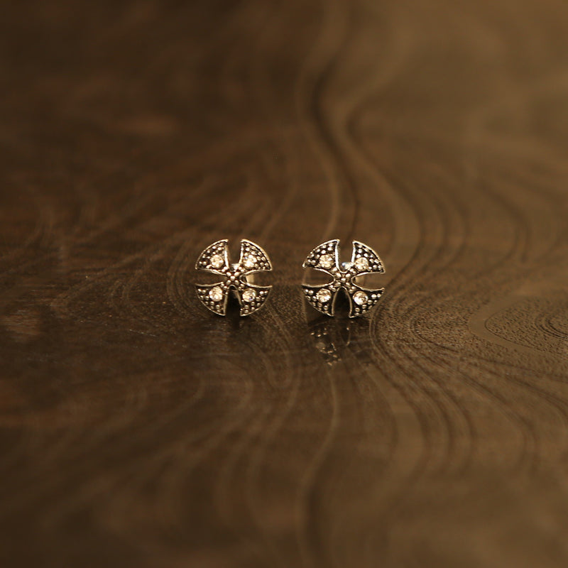 Igboh Oxidised Silver Ada Metal Stud Earrings