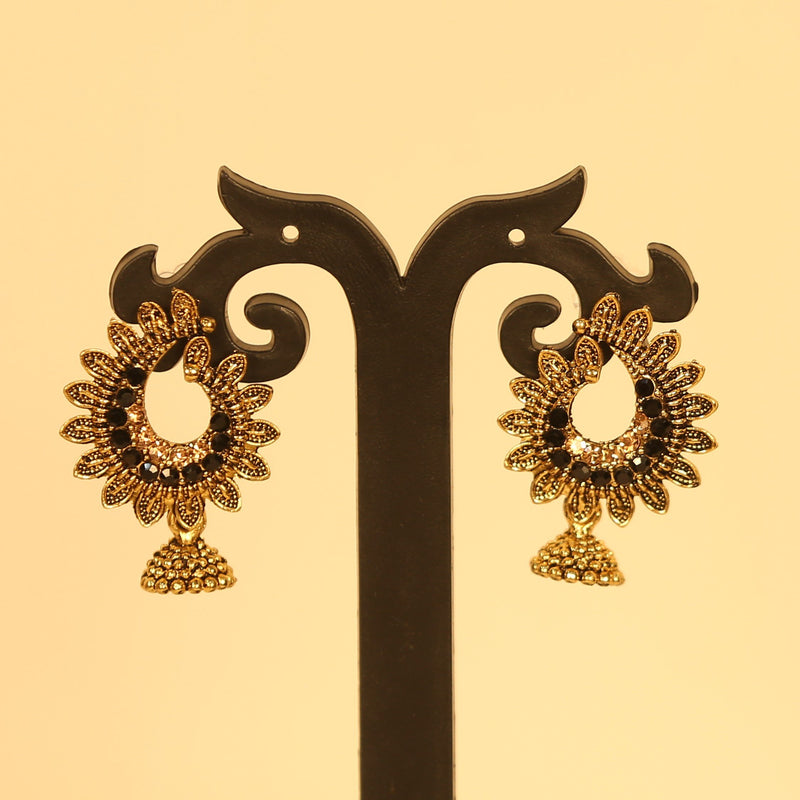 Golden Oxidised Stone Embellished Jhumka - Red