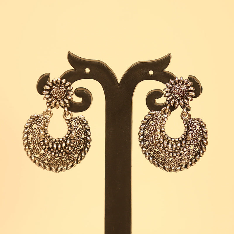 Floral Silver Oxidised Earrings