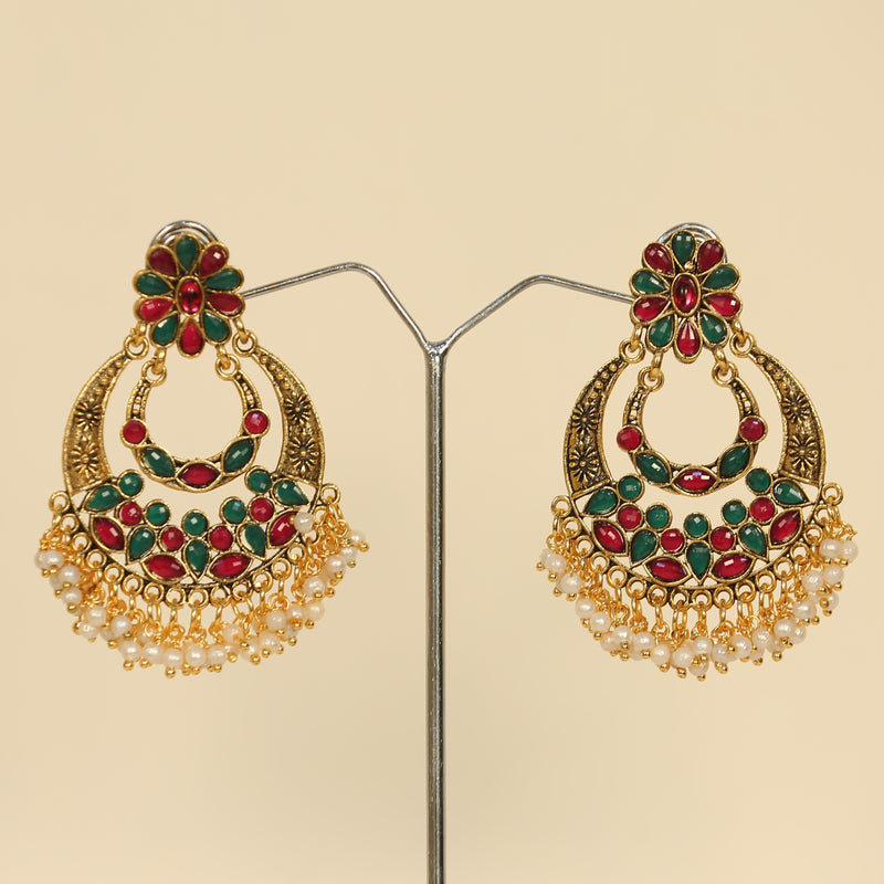 Ethnic Multicolored Gem Embellished Chandbali Earrings