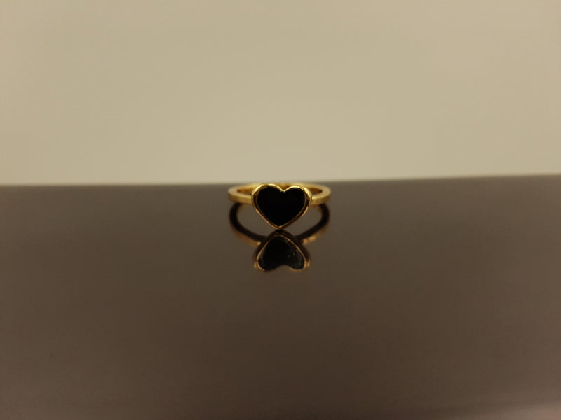 Brass Gold Black Onyx Ring - Heart
