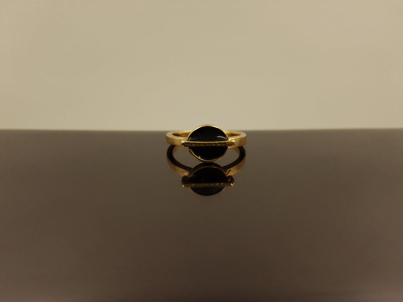 Brass Gold Stylish Black Onyx Ring