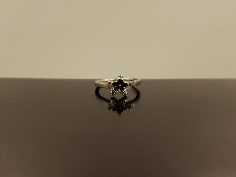 Silver Black Onyx Ring - Star