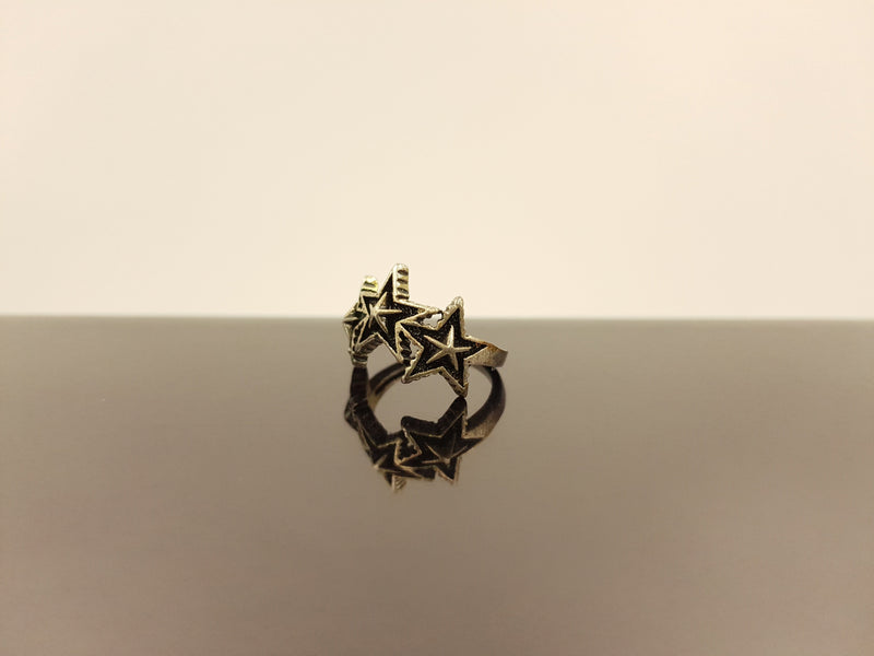 Black Metal Tristar Ring