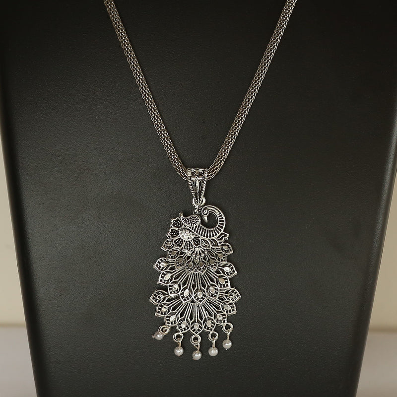 Silver Oxidised Multilayered Peacock Pendant
